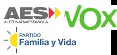 Logos de AES, Familia y Vida y VOX